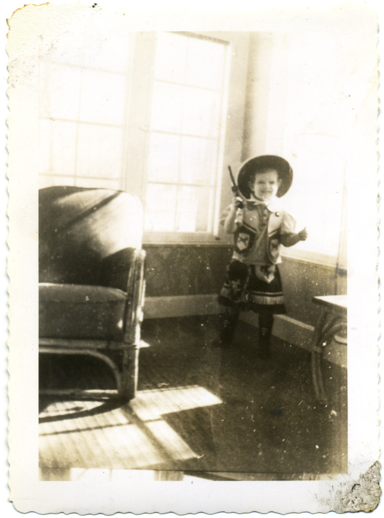 Photo of Mimi Baird as a child dressed as a cowgirl